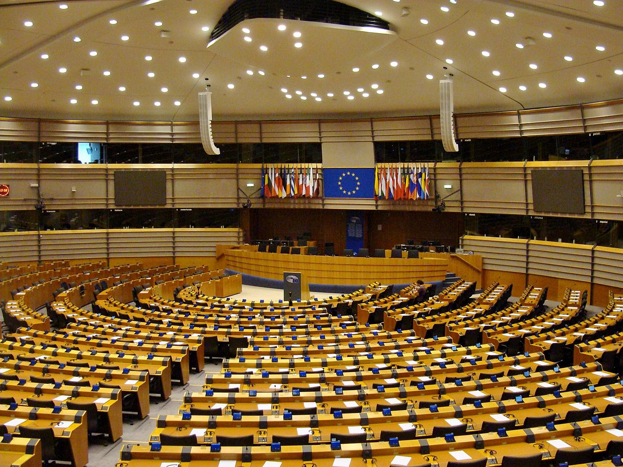 European Parlament Hemicycle Bryssels Belgium 2016 02