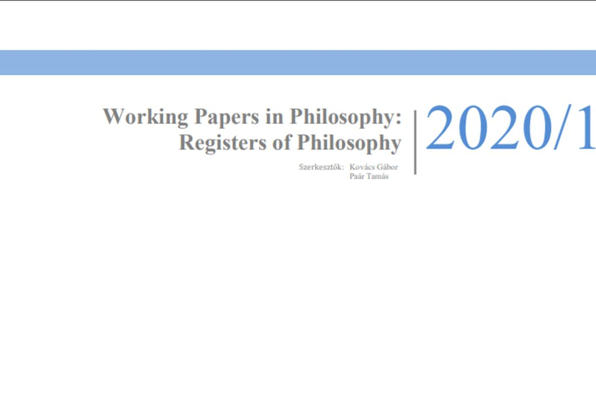 Registers of Philosophy, 2020/1.